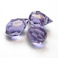 Czech Tear Drop Crystal Violet Beads, 6*10 mm, 10 pcs.