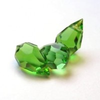 Czech Tear Drop Crystal Peridot Green Beads, 6*10 mm, 10 pcs.