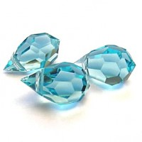 Czech Tear Drop Crystal Aqua Blue Beads, 6*10 mm, 10 pcs.