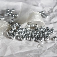 Czech Glass Round Silver Beads, 4mm, 120 pcs.