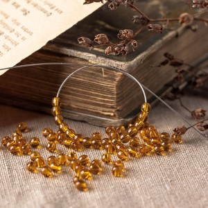 Czech Glass Round Dark Topaz Brown Beads, 4mm, 120 pcs.