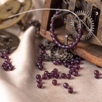 Czech Glass Druk Beads, Dark Amethyst, 4mm, 120 pcs.