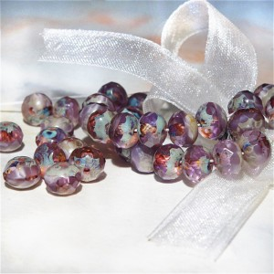 Czech fire polished faceted amethyst beads rondelle with picasso coating, 6х7 mm, 20 pcs.