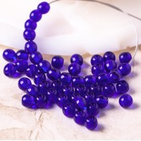 Czech Glass Round Dark Blue Beads, 4mm, 120 pcs.