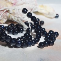 Czech Glass Round Dark Blue Beads with Picasso Coating, 4mm, 120 pcs.