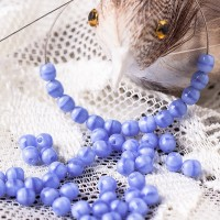 Czech Glass Round Opaque Light Silk Blue Beads, 4mm, 120 pcs.