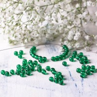 Small round transparent green beads, 4mm, 120 pcs.