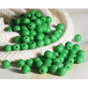 Small round opaque 'apple' green beads, 4 mm, 120 pcs.
