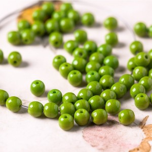 Small round opaque linden green beads, 4 mm, 120 pcs.