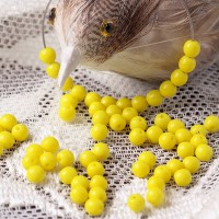 Czech Glass Druk Beads, Opaque Yellow, 4 mm, 120 pcs.