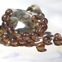 Czech Glass Round Beads with Golden Purple Coating, 6 mm, 80 pcs.
