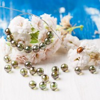 Czech Glass Round Beads with silver green Coating, 6 mm, 80 pcs.