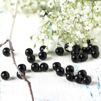 Czech Glass Round Opaque Black Beads, 6 mm, 80 pcs.