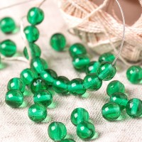 Czech Glass Round Emerald Green Beads, 6 mm, 80 pcs.