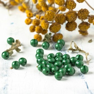 Czech Glass Round Opaque Dark Green Silk Beads, 6 mm, 80 pcs.