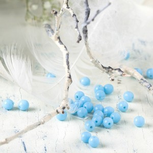 Czech Glass Round Opaque Light Blue Beads, 6 mm, 80 pcs.