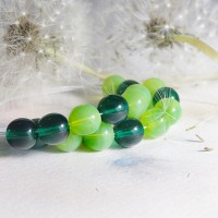 Czech Glass Round Transparent Bead Mix of Green Shades, 8mm, 48 pcs.