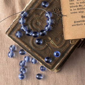 Czech Glass Round Light Blue Beads, 8 mm, 20 pcs.