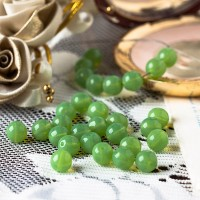 Czech Glass Round Opal Green Beads, 8 mm, 20 pcs.