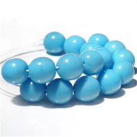 Czech Glass Round Opaque Turquoise Blue Beads, 8 mm, 20 pcs.