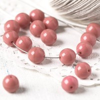 Czech Glass Round Opaque Pink Beads, 8 mm, 20 pcs.