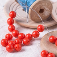 Czech Glass Round Opaque Red Beads, 8 mm, 20 pcs.