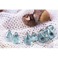 Czech Glass Clear Tear Drop Beads with Light Blue Coating, 9 mm, 10 pcs.