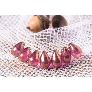 Czech Glass Clear Tear Drop Beads with Golden Red Coating, 9 mm, 10 pcs.
