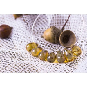 Czech Glass Clear Tear Drop Beads with Picasso Coating, 9 mm, 10 pcs.
