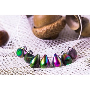 Czech Glass Magic Orchid Tear Drop Beads, 9 mm, 10 pcs.