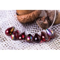 Czech Glass Magic Wine Tear Drop Beads, 9 mm, 10 pcs.