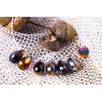 Czech Glass Magic Copper Tear Drop Beads, 9 mm, 10 pcs.