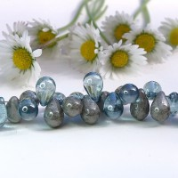 Czech Glass Blue and Opaque Gray Tear Drops Bead Mix, 9 mm, 11 g.