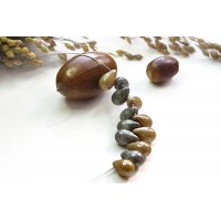 Czech Glass Picasso Opaque Brown and Gray Tear Drops Bead Mix, 9 mm, 11 g.