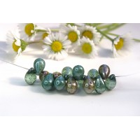 Czech Glass Green Shades Tear Drops Bead Mix, 9 mm, 11 g.