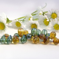 Czech Glass Green and Brown Shades Tear Drops Bead Mix, 9 mm, 11 g.