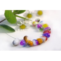 Czech Glass Opaque Tear Drops Bead Colorful Mix, 9 mm, 11 g.