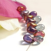 Czech Glass Pink and Gray Shades Tear Drops Bead Mix, 9 mm, 11 g.