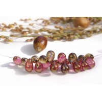Czech Glass Pink and Golden Shades Tear Drops Bead Mix, 9 mm, 11 g.