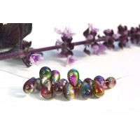 Czech Glass Tear Drops Bead Rainbow Mix, 9 mm, 11 g.