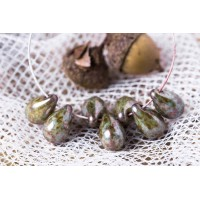 Czech Glass Tear Drops Opaque Brown Green Beads, 9 mm, 20 pcs.