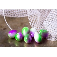 Czech Glass Tear Drops Opaque Purple Green Beads, 9 mm, 10 pcs.