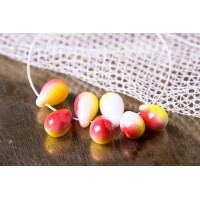 Czech Glass Tear Drops Opaque Red with Yellow Stripes Beads, 9 mm, 20 pcs.