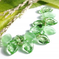 Czech Glass Beads Leaves Peridot Green Mix, 7х12 mm, 40 pcs.
