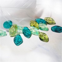 Czech Glass Beads Leaves Mix of Green Shades, 7х12 mm, 40 pcs.