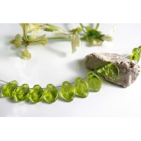 Czech Glass Beads Leaves Olive Green, 7х12 mm, 40 pcs.