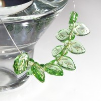 Czech Glass Beads Leaves Light Green with Golden Veins, 7х12 mm, 40 pcs.