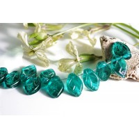 Czech Glass Beads Leaves Emerald Green, 7х12 mm, 10 pcs.