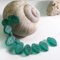 Czech Glass Beads Leaves Emerald Green Matt, 7х12 mm, 10 pcs.