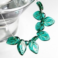 Czech Glass Beads Leaves Emerald Green with Golden Veins, 7х12 mm, 10 pcs.